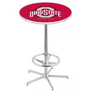 Chrome Ohio State University Logo Pub Table