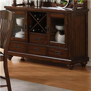 Holland House 1264 Dining Accacia Brown 2-Door 4-Drawer Dining Sideboard with Wine Storage