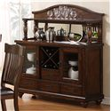 Holland House 1264 Dining Accacia Brown 2-Door 4-Drawer Dining Sideboard with Wine Storage - Shown with Hutch