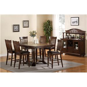 Holland House 1264 Dining 7-Piece Counter Height Gathering Table & Slat Back Chair Set