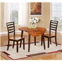 Holland House Greer Casual Round Table with Two Drop Leaves - Shown with Ladder-Backed Chairs