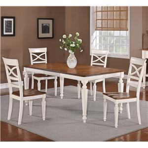 Holland House 1271 Dining 5-Piece Rectangular Leg Table and Open Back Side Chair Dining Set