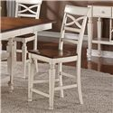 Holland House 1271 Dining Armless Counter Chair with Turned Forelegs and Lattice Backrest - 1271-CPB537-S