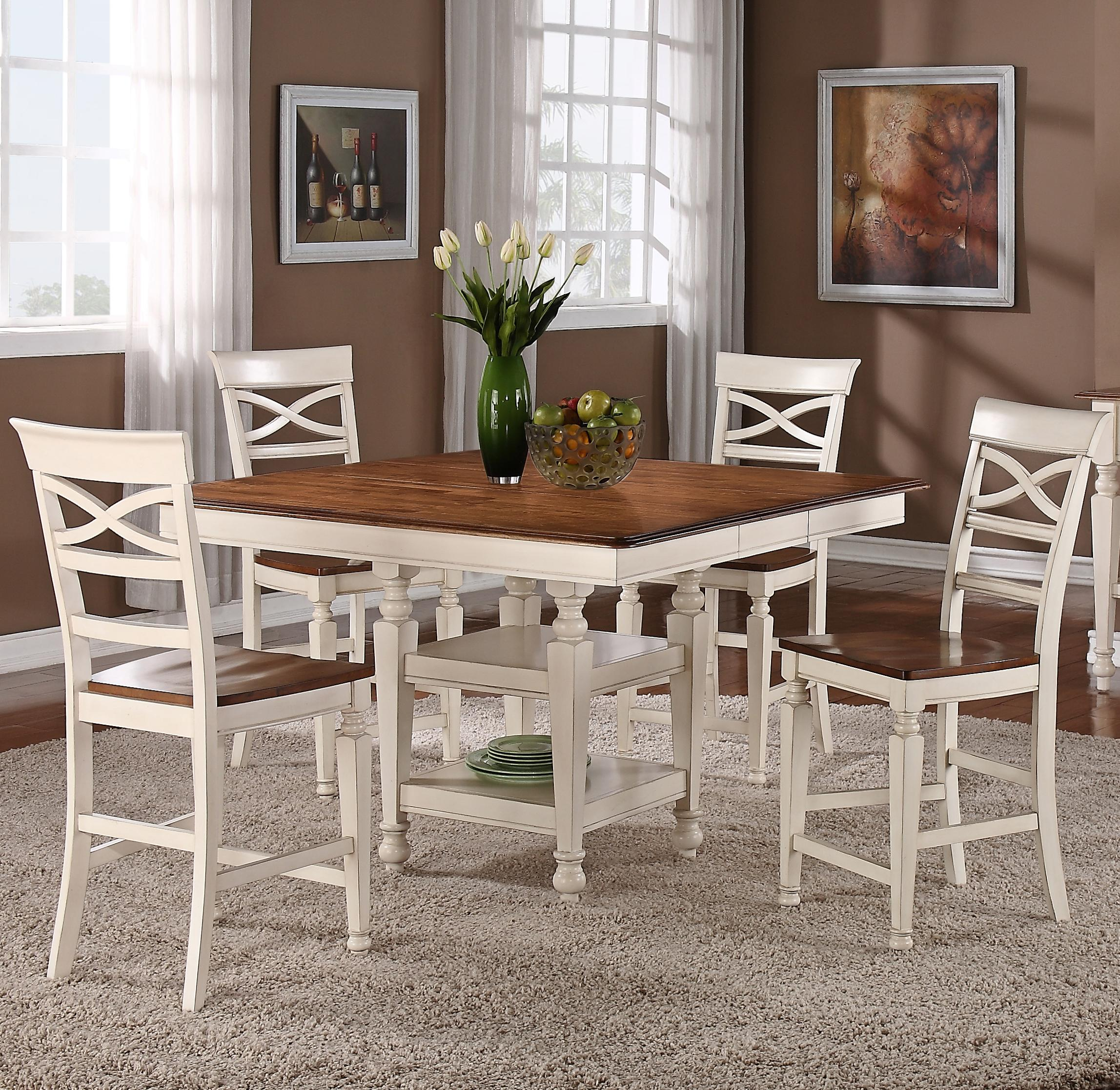 Holland House 1271 Dining 5 Piece Counter Height Square Top Table And Open  Backrest Chair Dining Set