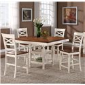 Holland House 1271 Dining 5-Piece Counter Height Square Top Table and Open Backrest Chair Dining Set - 1271-TPB5454+4xCPB537-S