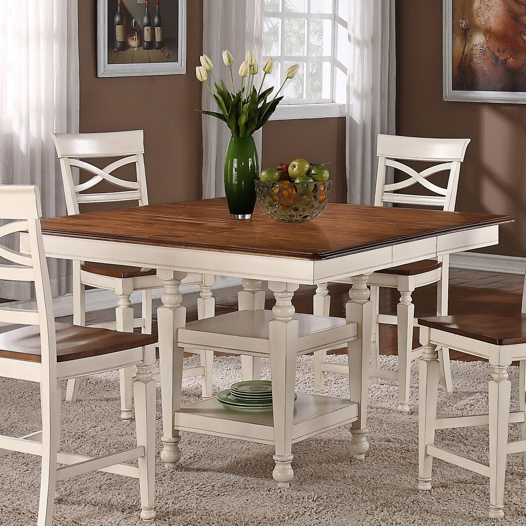 Holland House Dining Square Top Counter Height Dining Table - White pedestal table with leaf