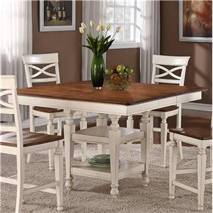 Holland House 1271 Dining Square Top Counter Height Dining Table with Srorage Pedestal Base and 12