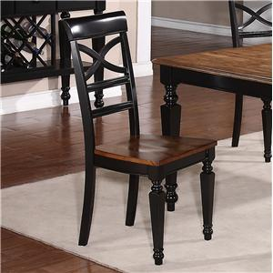 Holland House 1272 Dining Armless Dining Side Chair with Turned Forelegs and Lattice Backrest
