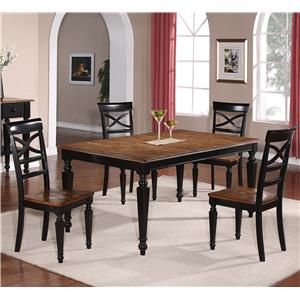 Holland House 1272 Dining 5-Piece Rectangular Leg Table and Open Back Side Chair Dining Set