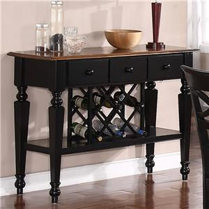Holland House 1272 Dining Sideboard with Veneer Top and Built-in Wine Rack