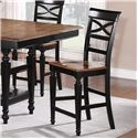 Holland House 1272 Dining Armless Counter Chair with Turned Forelegs and Lattice Backrest