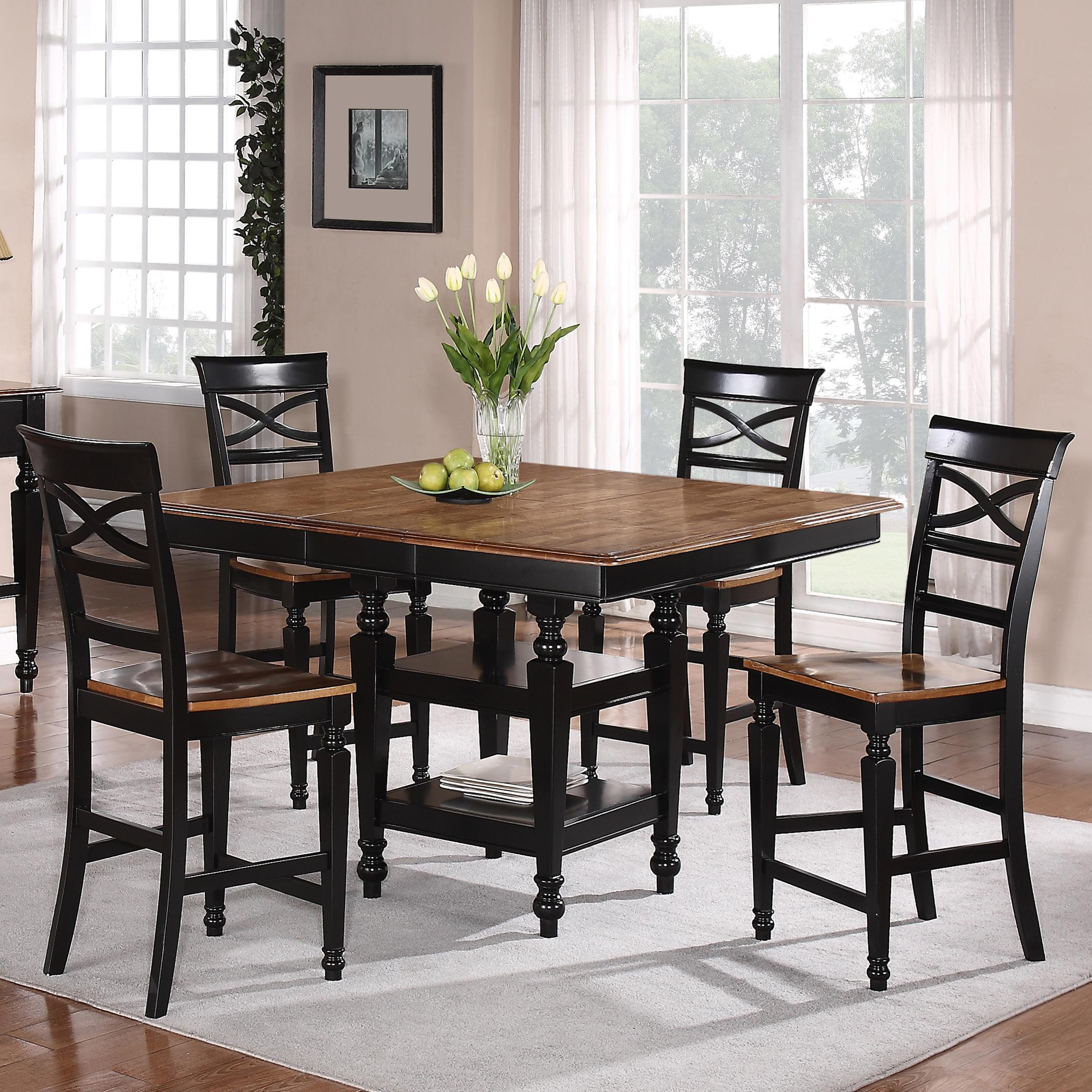 Holland House 1272 Dining 5 Piece Counter Height Square Top Table And Open  Backrest Chair Dining Set