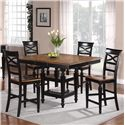 Holland House 1272 Dining 5-Piece Counter Height Square Top Table and Open Backrest Chair Dining Set