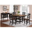 Holland House 1272 Dining 5-Piece Counter Height Square Top Table and Open Backrest Chair Dining Set - Shown with Sideboard
