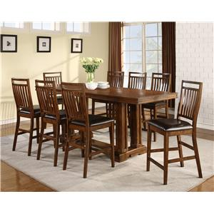 Holland House 1275 9-Piece Casual Counter Height Trestle Table & Chair Set