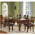 Holland House 1279 Leg Table with Ladder Back Chairs and Bench - Item Number: 1279-4278L+4x1279-321S+1279-322-BEN
