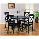Holland House 1290 Round Pedestal Wooden Table - 1290-4242+4242PED - Shown with X Back Side Chairs