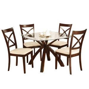Holland House 1284 5 Piece Dinette with Glass Top Table