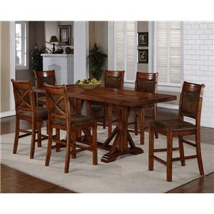 Holland House 1288 7-Piece Counter Height Trestle Table & X-Back Chair Set