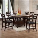 Holland House 1965 Dining 7 Piece Counter Table Dining Set - Item Number: 1965-TPB5472+BASE+6XCPB711-S