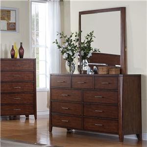 Holland House Braxton 9 Drawer Dresser & Rectangular Mirror Combo