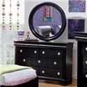Holland House Petite Louis 2 Black 7 Drawer Dreser & Wood Frame Mirror Set - 457-01+02