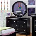 Holland House Petite Louis 2 Black Dresser with 7 Drawers - 457-02 - Shown with Optional Round Mirror