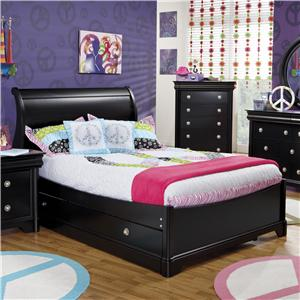 Holland House Petite Louis 2 Black Twin Sleigh Bed with Trundle Unit