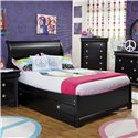 Holland House Petite Louis 2 Black Full Sleigh Bed - 457-20H+20F+19R - Does Not Include Trundle Storage Unit. Bed Shown May Not Represent Exact Size Indicated