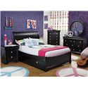 Holland House Petite Louis 2 Black Full Sleigh Bed with Trundle Unit - Shown with Night Stand, Chest, Dresser & Mirror