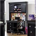 Holland House Petite Louis 2 Black Office Desk Chair with Casters - 457-40 - Shown with Desk & Hutch