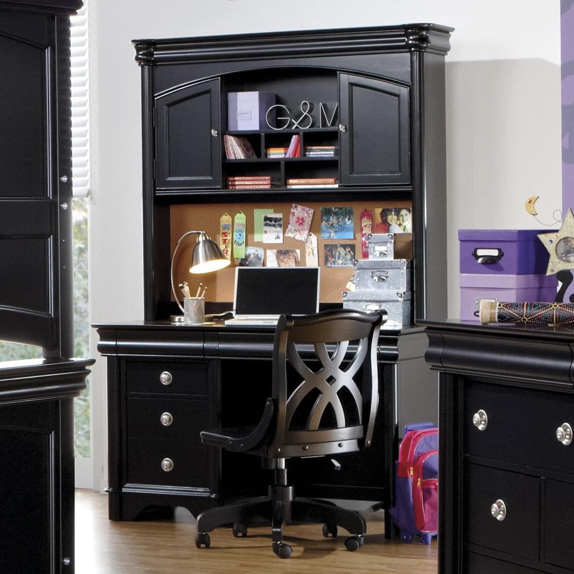 Holland House Petite Louis 2 Black Computer Pedestal Desk Hutch Fmg Local Home Furnishing Desk Hutch