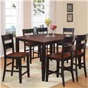 Holland House 8202 7 Piece Counter Height Dining Set - Item Number: 8202-TPB5454+6xCPB223-S