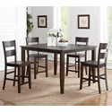 Holland House 8204 5 Piece Counter Height Dining Set - Item Number: 8204-TPB5454+4xCPB223-S