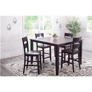 Charcoal & Ebony Counter Table with 6 Chairs