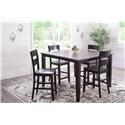Holland House Earl Charcoal & Ebony Counter Table with 6 Chairs - Item Number: GRP-8207-CNTRTBL-6