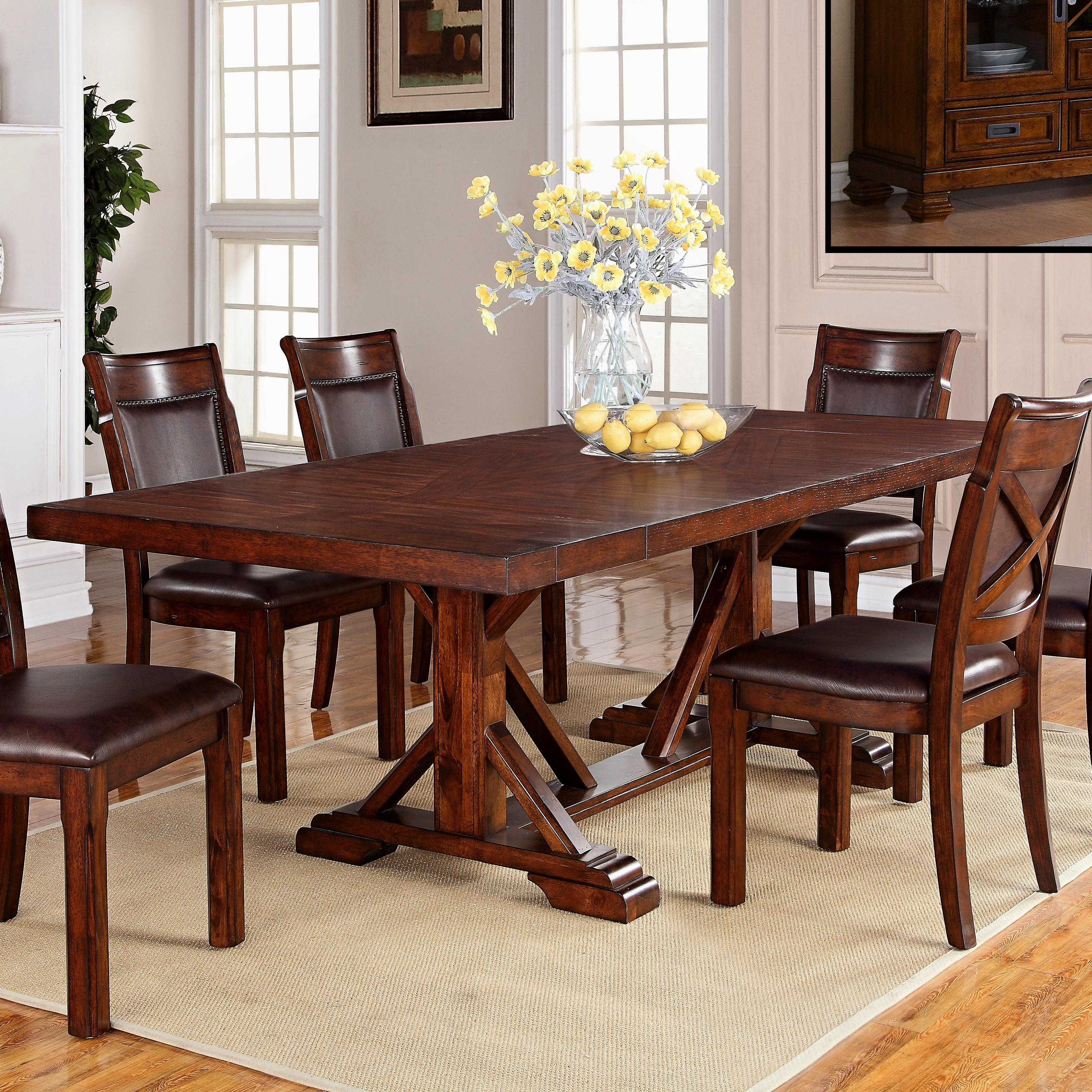 Cascade trestle dining table with two leaves walkers furniture dining room table spokane kennewick tri cities wenatchee coeur dalene yakima