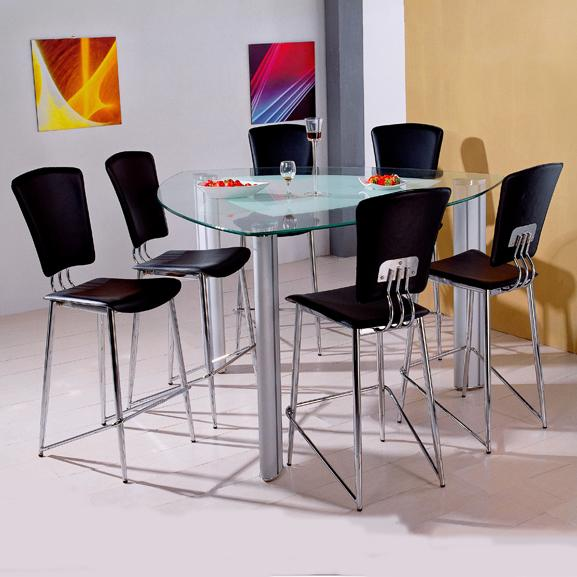 Holland House Bay Front 7 Piece Triangle Glass Pub Table And PVC Barstools  Set