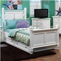 Holland House Belmar Youth Twin Poster Bed with Trundle - 2697-17H+17F+17R+84 - Bed Shown May Not Represent Exact Size Indicated