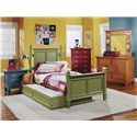 Holland House Belmar Youth Twin Poster Bed with Louvre Panel Detail - Green-17H+17F+17R - Trundle Not Included. Shown with Nightstand, Chest, and Dresser with Mirror
