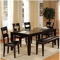 Holland House Bend Rectangular Top Dining Table, Ladder Back Side Chair, and Bench Dining Set - 1289-4278L+4x321-S+322-BEN