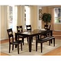 Holland House Bend Rectangular Top Dining Table with Butterfly Leaf - 1289-4278L - Shown with Dining Side Chairs and Bench.