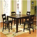 Holland House Bend 5 Piece Pub Table and Chair Dining Set  - Item Number: 1289-TPB5454+4x1289-CPB433-S