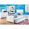 Holland House Boca White Twin Size Panel Bed with 2 Drawer Underbed Stoarge - 2616-17R+17H+17F+84 - Shown with Nightstand, Dresser, and Dresser Mirror