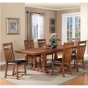 Warehouse M Bryce Canyon 7-Piece Trestle Table Set