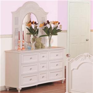 Morris Home Furnishings Loveland Drawer Dresser and Triple Mirror