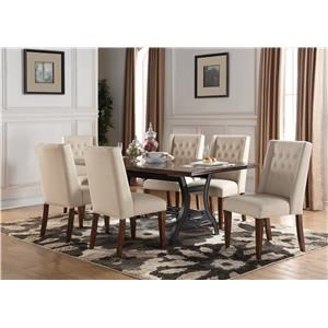 Morris Home Furnishings Creston Creston 5-Piece Dining Set with 4 Tufted Ch