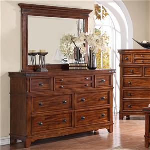 Holland House Layton Drawer Dresser and Rectangular Mirror