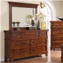 Holland House Mango Drawer Dresser w/ Rectangular Mirror - 2668-03