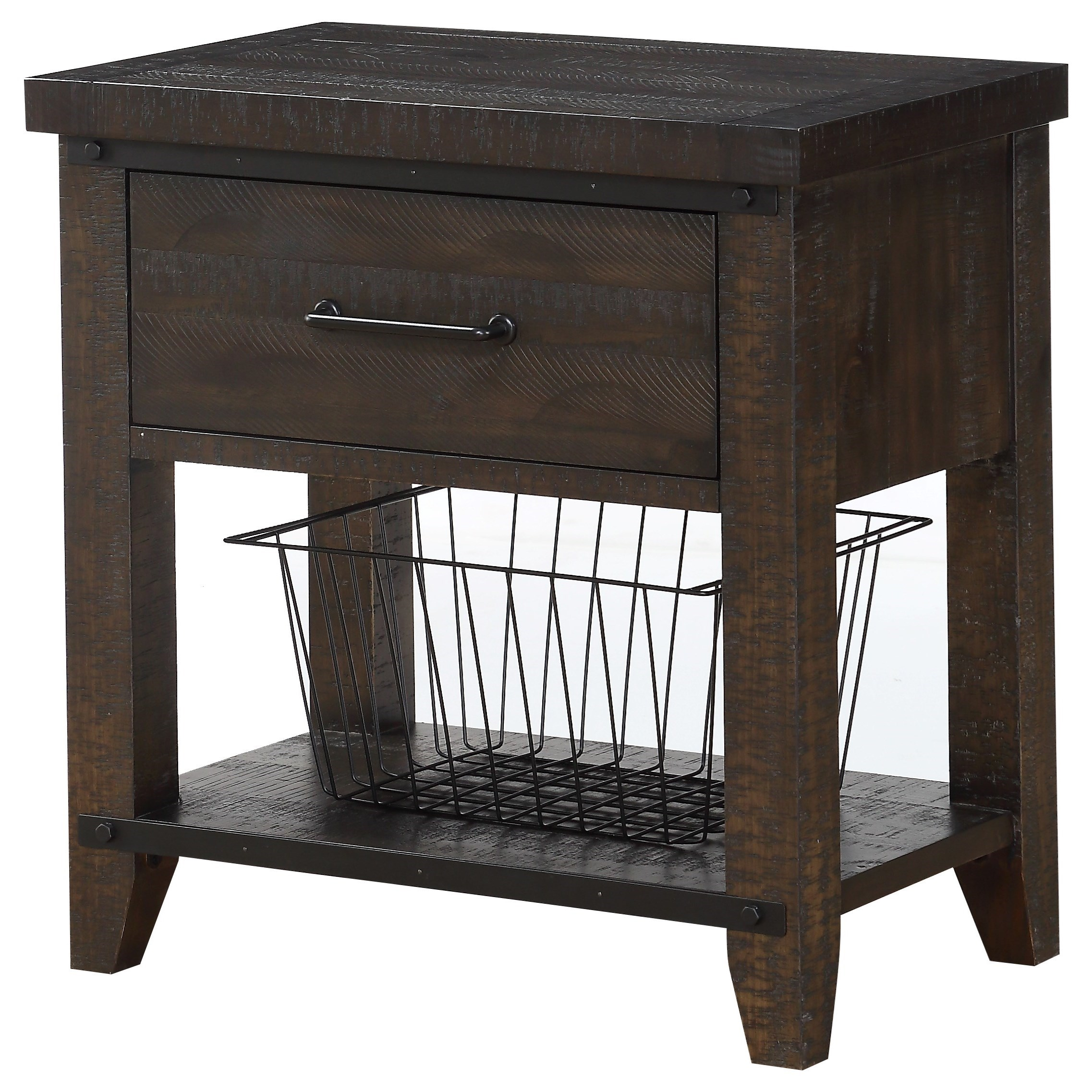 1-Drawer Nightstand with Metal Basket